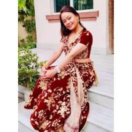 Maron color Tapeta  Valvet Silk Bridal Designer Lehnga