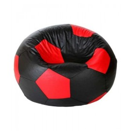 Footbal Leather 2xl Black/Red Bean Bag Chair | Single Seating
