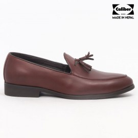 Caliber Shoes | Wine Red Slip On Formal Shoes For Men