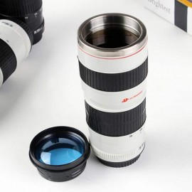 Camera Lens Coffee Mug with Transparent Lid- Photographer Camera Mug
