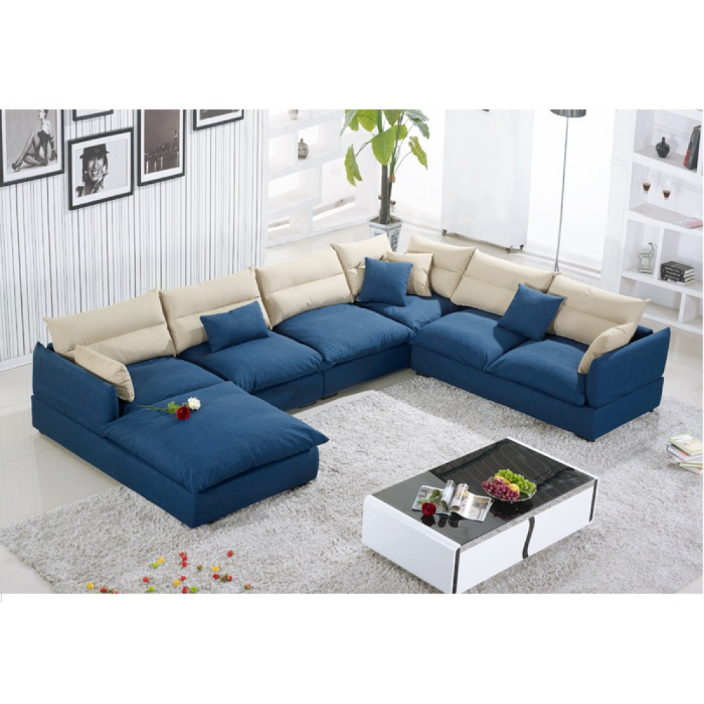Excellent Blue Soft Fluffy U Shaped Living Room Sofa Set Buy Online Squirreltailoven Fun Painted Chair Ideas Images Squirreltailovenorg